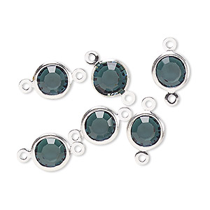 link, glass rhinestone and silver-finished brass, zircon blue, 8-9mm faceted round. sold per pkg of 6.