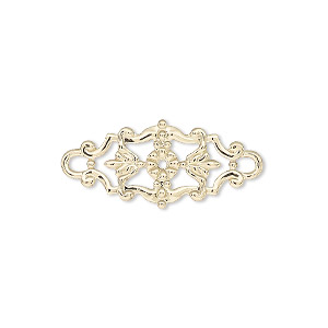 link, gold-finished brass, 27x12mm single-sided filigree with flower and leaves design. sold per pkg of 2.