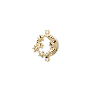 link, gold-plated brass, 11mm moon with stars design. sold per pkg of 10.