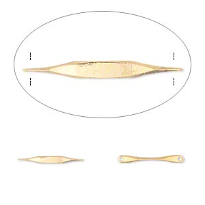 link, gold-plated brass, 14x2mm double-paddle. sold per pkg of 50.