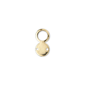link, gold-plated brass, 14x7mm loop and flat round, 2 holes. sold per pkg of 100.