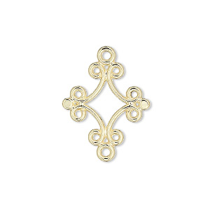 link, gold-plated brass, 18x17mm diamond. sold per pkg of 100.