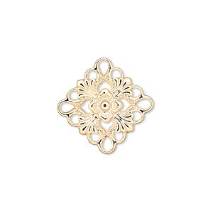 link, gold-plated brass, 20x20mm single-sided diamond. sold per pkg of 48.