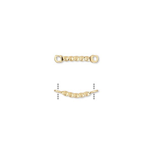 link, gold-plated brass, 26x4mm twisted curved bar. sold per pkg of 10.