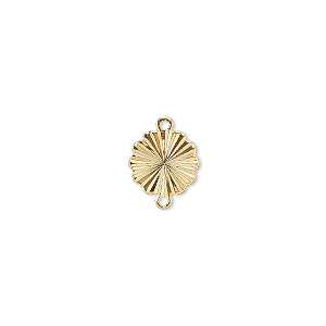 link, gold-plated brass, 9mm diamond-cut round flower. sold per pkg of 100.