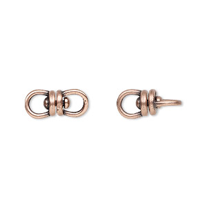 link, jbb findings, antique copper-plated brass, 13.5x6mm with center swivel. sold per pkg of 2.