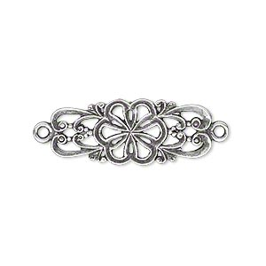 link, jbb findings, antique silver-plated brass, 26.5x11mm double-sided with fancy flower and swirl design. sold individually.