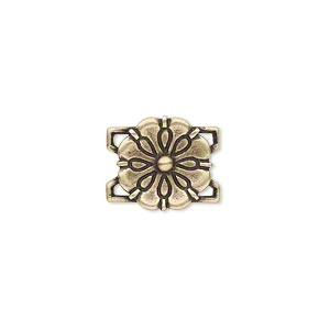 link, jbb findings, antiqued brass, 13x13mm single-sided flower. sold individually.