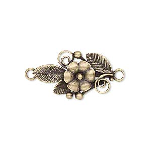 link, jbb findings, antiqued brass, 23.5x14mm single-sided flower and leaves. sold individually.