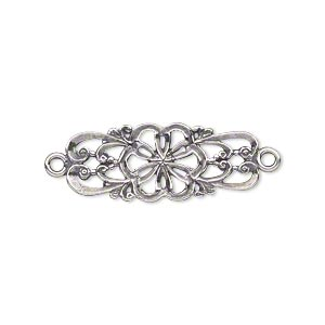 link, jbb findings, antiqued sterling silver, 26x11mm double-sided filigree flower. sold individually.