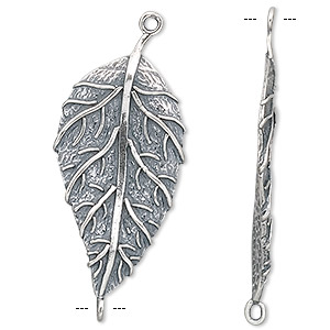 link, jbb findings, antiqued sterling silver, 37x17mm leaf. sold individually.