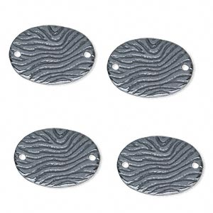 link, jbb findings, gunmetal-finished pewter (tin-based alloy), 18.5x13mm single-sided oval with wavy lines. sold per pkg of 4.
