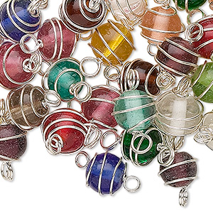 link mix, glass and silver-finished brass, transparent mixed colors, 8mm wire-wrapped round. sold per pkg of 50.