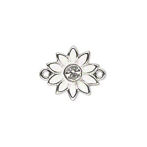 link, silver-finished pewter (zinc-based alloy) / swarovski crystal rhinestone / enamel, white and crystal clear, 16x15mm single-sided flower. sold individually.
