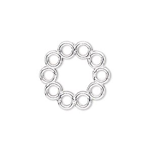 link, silver-finished pewter (zinc-based alloy), 20mm round with flat back and 10 loops. sold per pkg of 4.