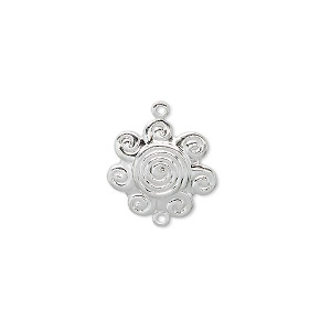 link, silver-plated brass, 14x14mm swirl flower. sold per pkg of 10.