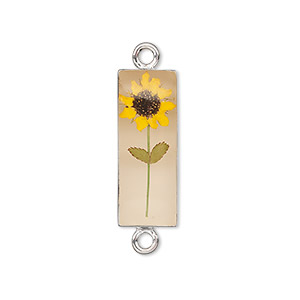 link, sterling silver / resin / sunflower, antique sepia and yellow, 30x8.5mm rectangle. sold individually.