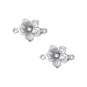 link, sterling silver, 11x11mm 5-petal flower. sold per pkg of 2.