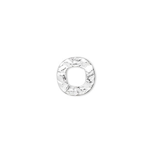 link, sterling silver, 12mm hammered open round. sold per pkg of 4.