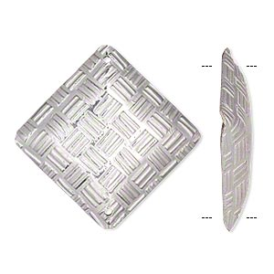 link, sterling silver, 29.5x29.5mm single-sided puffed diamond with woven checkerboard pattern. sold individually.