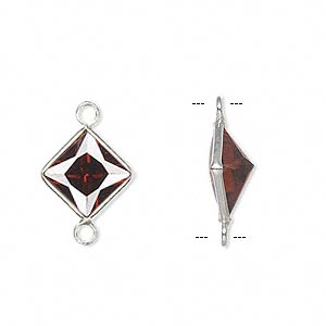 link, sterling silver and cubic zirconia, garnet red, 11.5x11.5mm faceted diamond. sold per pkg of 2.