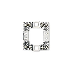 link, sterling silver with marcasite, 18x16mm square.  sold individually.