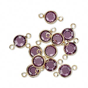 link, swarovski crystals and gold-plated brass, crystal passions, amethyst, 6.14-6.32mm round (57700), ss29. sold per pkg of 12.