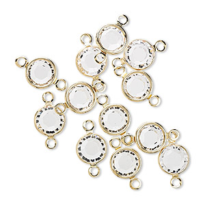 link, swarovski crystals and gold-plated brass, crystal passions, crystal clear, 6.14-6.32mm round (57700), ss29. sold per pkg of 48.