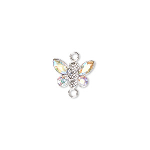 link, swarovski crystals and sterling silver, crystal ab, 12x8mm butterfly. sold individually.
