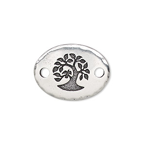 link, tierracast, antique silver-plated pewter (tin-based alloy), 20x15mm single-sided hammered curved oval with bird in tree design. sold individually.