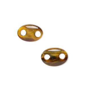 link, tigereye (natural), 14x10mm hand-cut oval, b grade, mohs hardness 7. sold per pkg of 2.