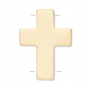 link, vermeil, 15x11mm matte cross. sold individually.