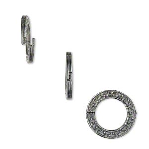 loop lock™, jbb findings, gunmetal-plated pewter (tin-based alloy), 15mm double-sided flat round with geometric design and ridged edge. sold per pkg of 4.