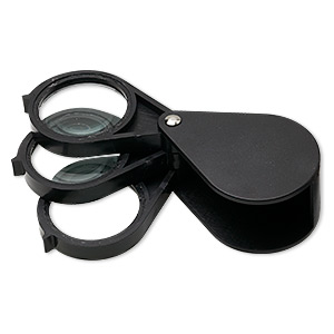 loupe, 5x to 15x power, plastic / glass / steel, black, 4x1-1/2 inches (when open). sold individually.