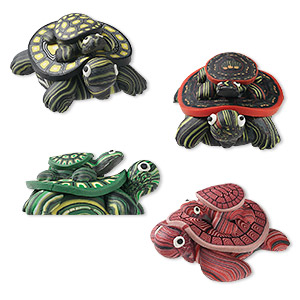 magnet mix, polymer clay, assorted colors, 40x32mm mama and baby turtle. sold per pkg of 4.