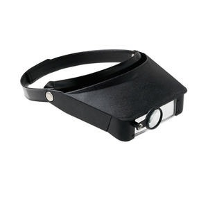 magnifier, 3-in-1 velcro headband, plastic / acrylic / steel, black and clear, 3-1/2 x 1-1/8 inch dual acrylic lenses and 1-1/8 inch movable loupe. sold individually.