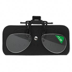 magnifier, magniclips, acrylic and vinyl, black and clear, +3 magnification clip-on style lenses. sold individually.