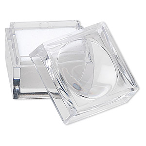 magnifying box, 2x power, plastic and cotton foam, clear and white, 1 x 1 x 7/8 inch. sold per pkg of 12.