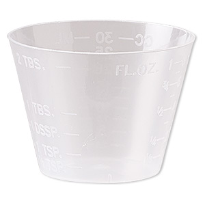 measuring cup, plastic, transparent clear, 47x34mm. sold per pkg of 20.