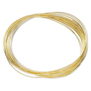 memory wire, beadalon, gold-plated carbon steel, 3x2-1/4 inch oval bracelet, 0.6-0.75mm thick. sold per 0.35-ounce pkg, approximately 20 loops.