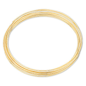 memory wire, gold-finished stainless steel, 1-3/4 inch bracelet, 0.6-0.75mm thick. sold per pkg of 12 loops.