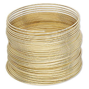 memory wire, gold-plated high carbon steel, 1-3/4 inch bracelet, 0.7mm thick. sold per 1-ounce pkg, approximately 60 loops.