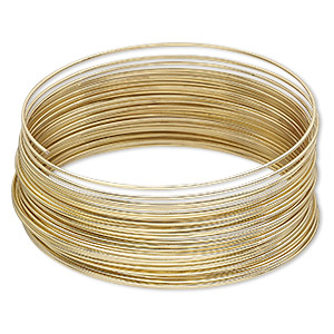 memory wire, gold-plated high carbon steel, 2-1/4 inch bracelet, 0.7mm thick. sold per pkg of 12 loops.