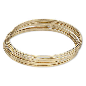 memory wire, gold-plated high carbon steel, 2-inch bracelet, 1.2x0.5mm flat. sold per 0.35-ounce pkg, approximately 8 loops.