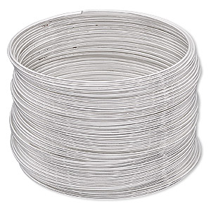 memory wire, imitation rhodium-plated high carbon steel, 1-3/4 inch bracelet, 0.7mm thick. sold per pkg of 12 loops.