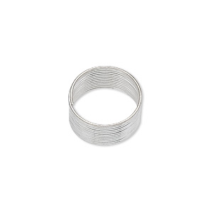 memory wire, silver-plated carbon steel, 1/2 inch toe ring, 0.65-0.75mm thick. sold per 1-ounce pkg, approximately 250 loops.