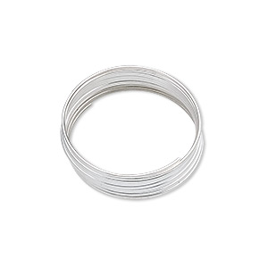 memory wire, silver-plated carbon steel, 3/4 inch ring, 0.65-0.75mm thick. sold per pkg of 12 loops.