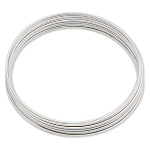 memory wire, stainless steel, 1-3/4 inch bracelet, 0.65-0.75mm thick. sold per 1-ounce pkg, approximately 60 loops.