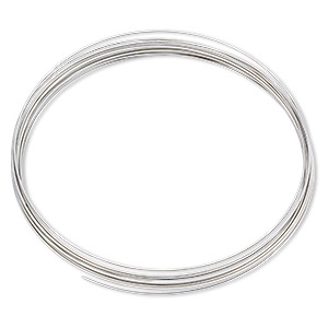 memory wire, stainless steel, 3-5/8 inch necklace, 0.6-0.75mm thick. sold per pkg of 12 loops.