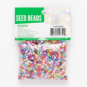 mix bead, plastic, opaque mixed colors, 4mm round. sold per 2-ounce pkg, approximately 1,700 beads.